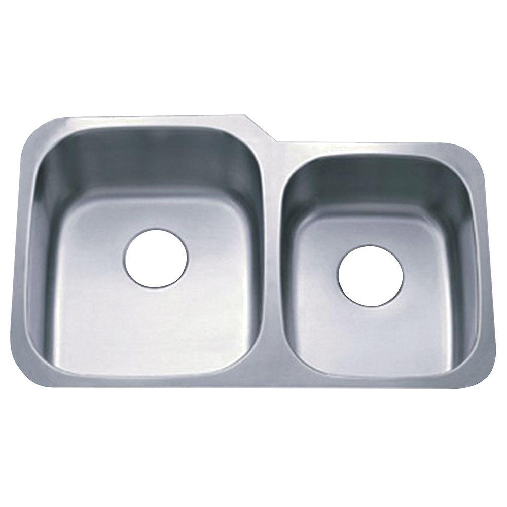 Undermount Stainless Steel 32 in. 0-Hole Double Bowl Kitchen Sink in