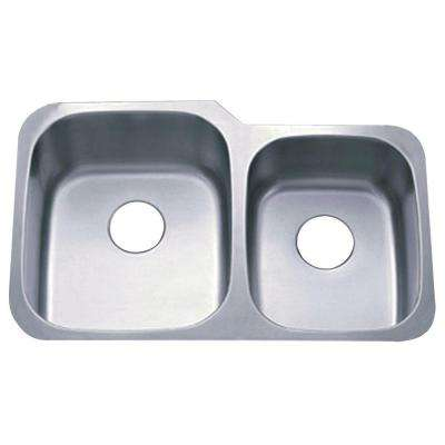 Undermount Stainless Steel 32 in. 0-Hole Double Bowl Kitchen Sink in Satin