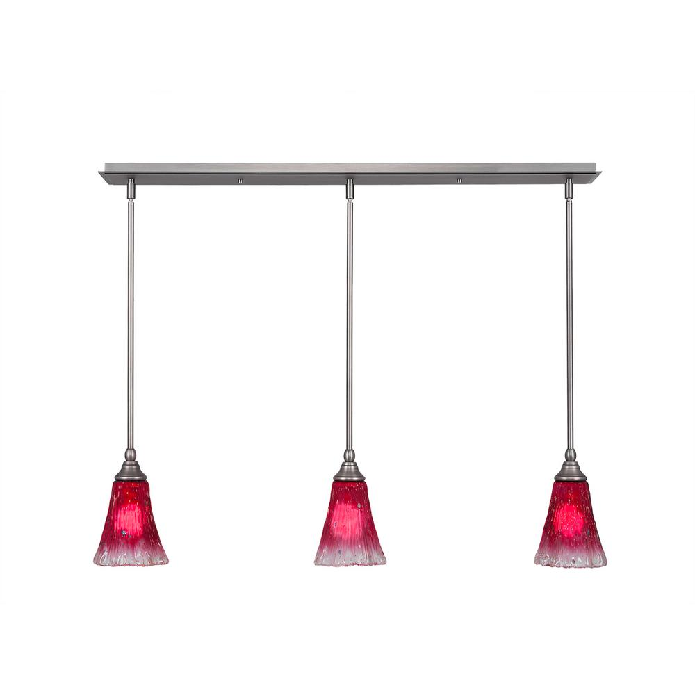 Cambridge 3-Light Brushed Nickel Island Pendant with Raspberry Ribbed Glass