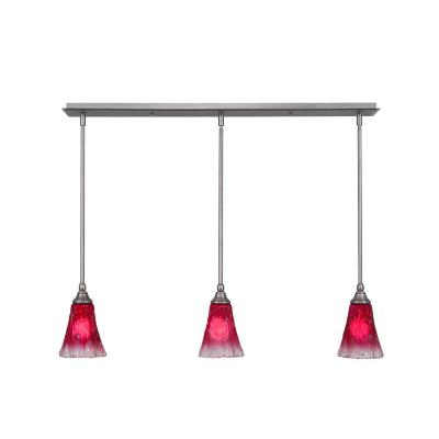 3-Light Brushed Nickel Island Pendant with Raspberry Ribbed Glass