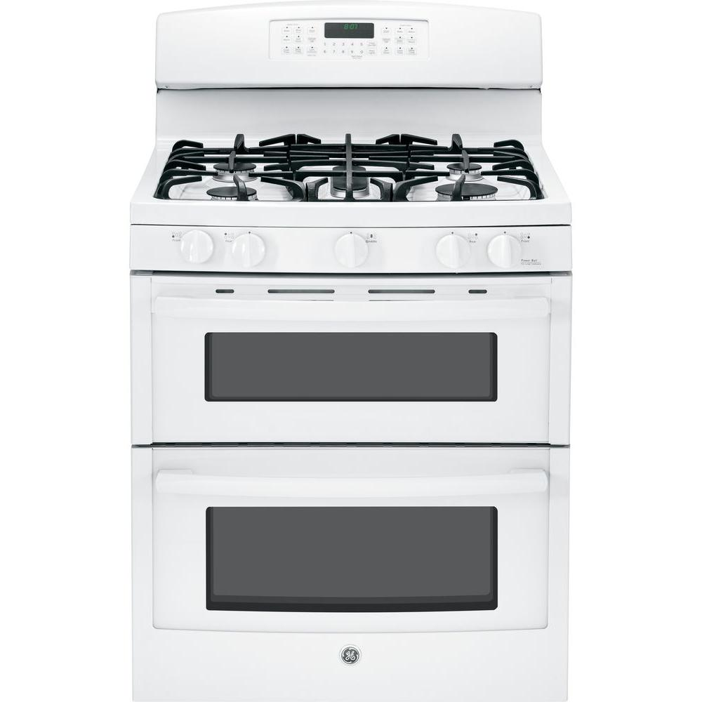 GE 6.8 cu. ft. Double Oven Gas Range with Self-Cleaning Convection Lower Oven in White