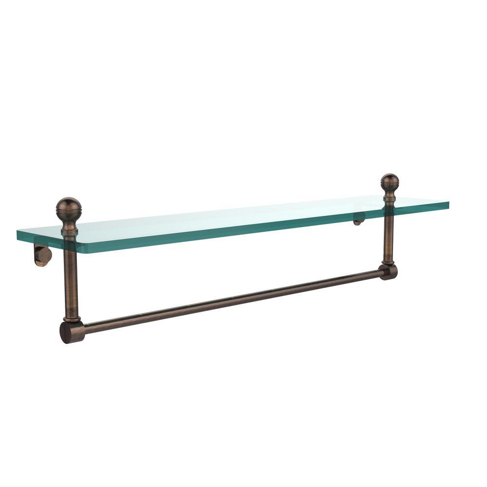 Mambo 22 in. L  x 5 in. H  x 5 in. W Clear Glass Vanity Bathroom Shelf with Towel Bar in Venetian Bronze