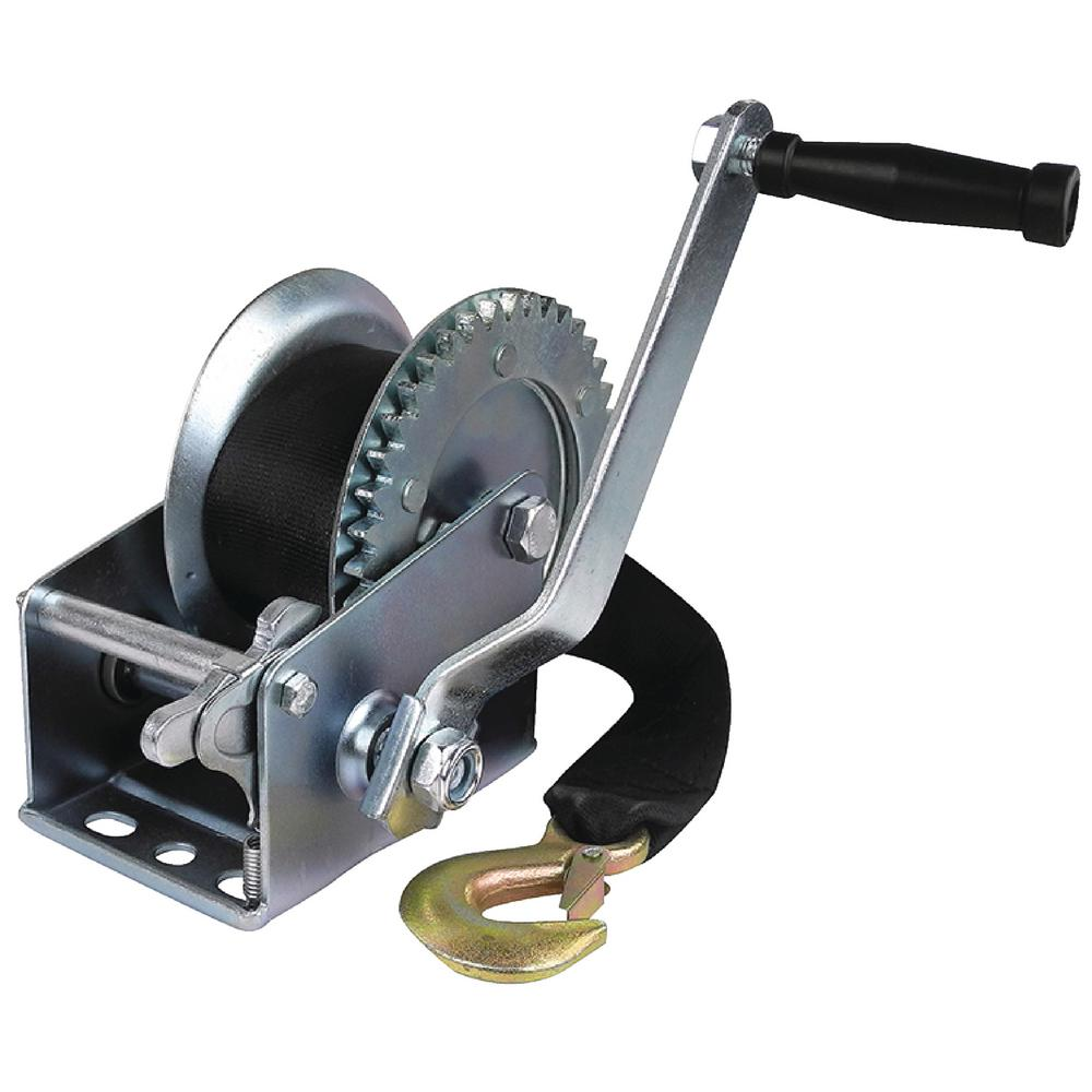 Seachoice Manual Trailer Winch With Strap Includes winch strap. Made of zinc plated steel. Features 1 or 2-way ratchet with free spool center position. Has 1-piece solid gear. Pre-drilled for 3 bolt mounting.<return/>52131: Strap 2 in. x 16 ft.<return/>52161, 52191, 52251 and 52261: Strap 2 in. x 25 ft.