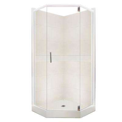 Classic Grand Hinged 36 in. x 36 in. x 80 in. Neo-Angle Shower Kit in Natural Buff and Satin Nickel Hardware
