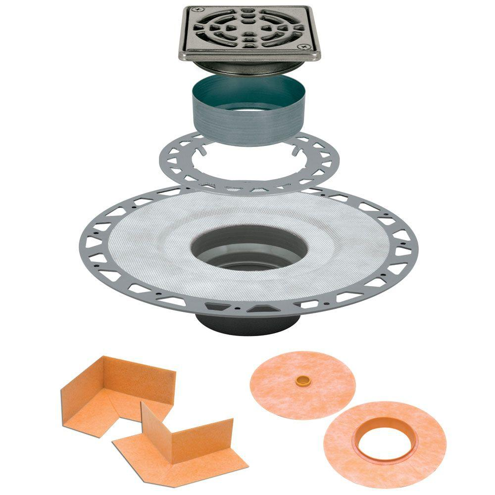 Schluter Kerdi-Drain 4 in. x 4 in. PVC Drain Kit in Stainless Steel