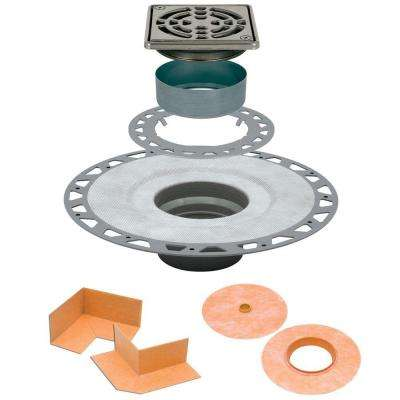 Kerdi-Drain 4 in. x 4 in. PVC Drain Kit in Stainless Steel