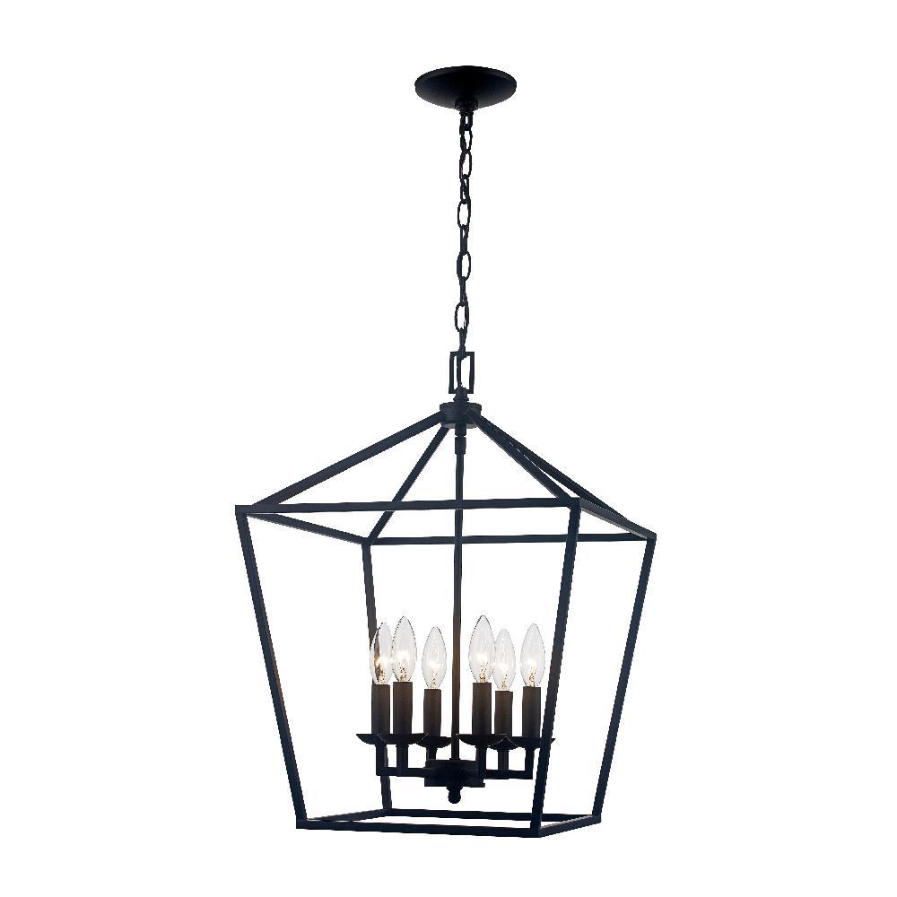 Caged 6-Light Bronze Chandelier