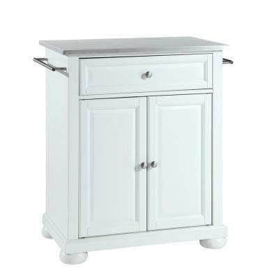 Alexandria White Portable Kitchen Island with Stainless Steel Top
