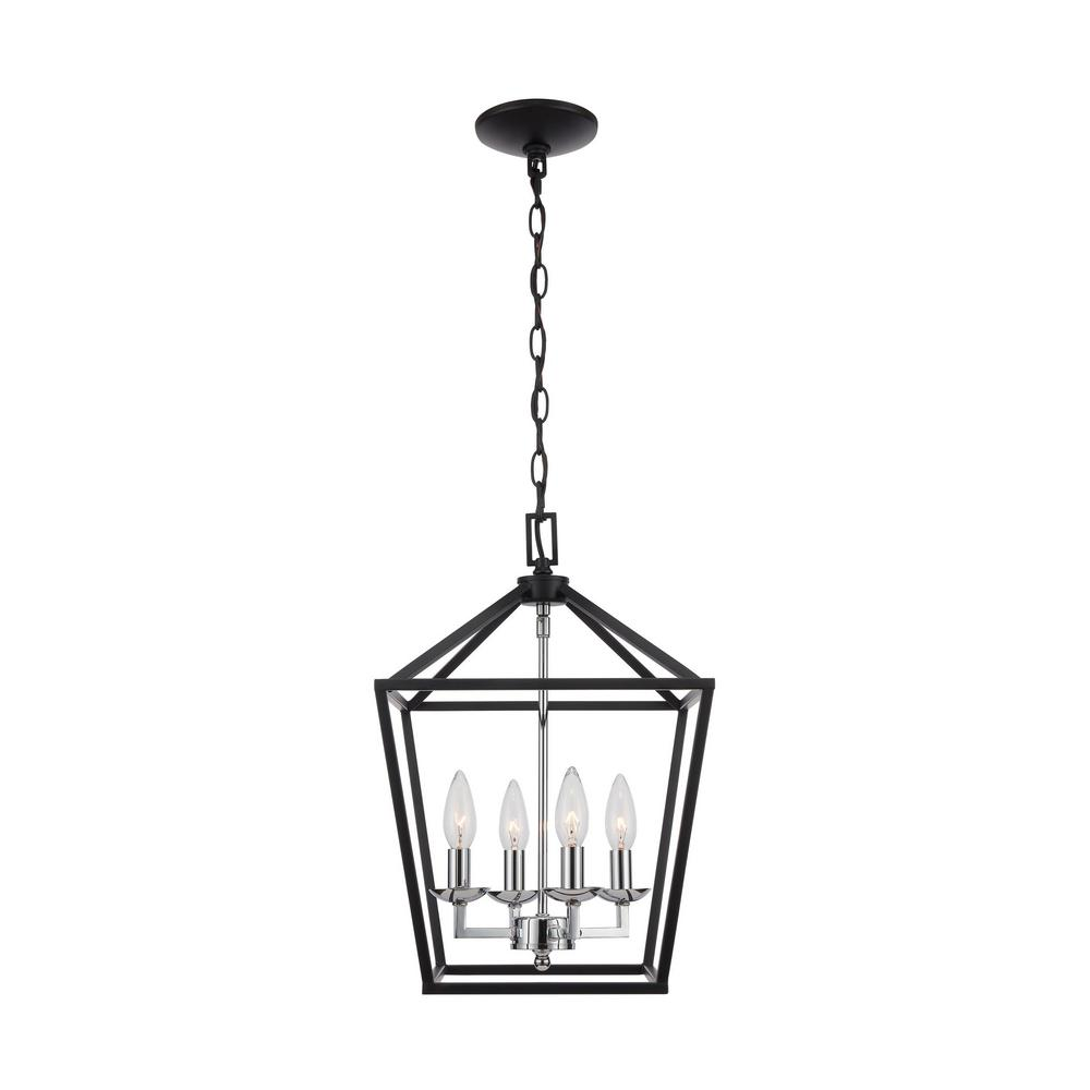 Home Decorators Collection Weyburn 4-Light Black and Polished Chrome Caged Chandelier