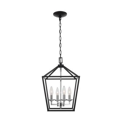 Weyburn 4-Light Black and Polished Chrome Caged Chandelier