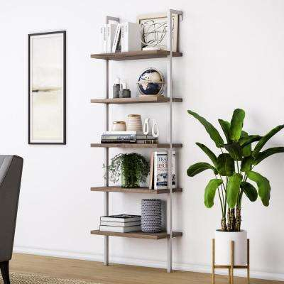 Theo Rustic Oak 5-Shelf Ladder Bookcase with White Metal Frame