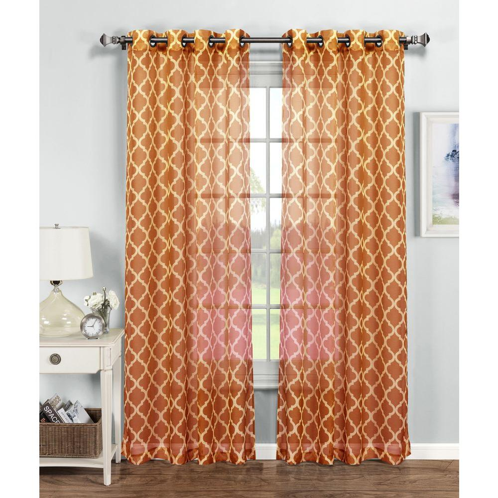 Window Elements Sheer Quatrafoil Printed Sheer Extra Wide 54 In. W X 84 In.