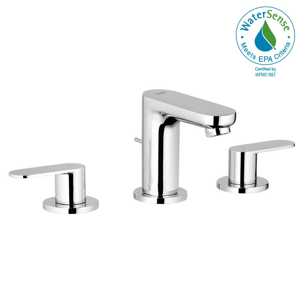 grohe eurosmart cosmopolitan 8 in widespread 2 handle 1 2 gpm bathroom faucet in starlight. Black Bedroom Furniture Sets. Home Design Ideas