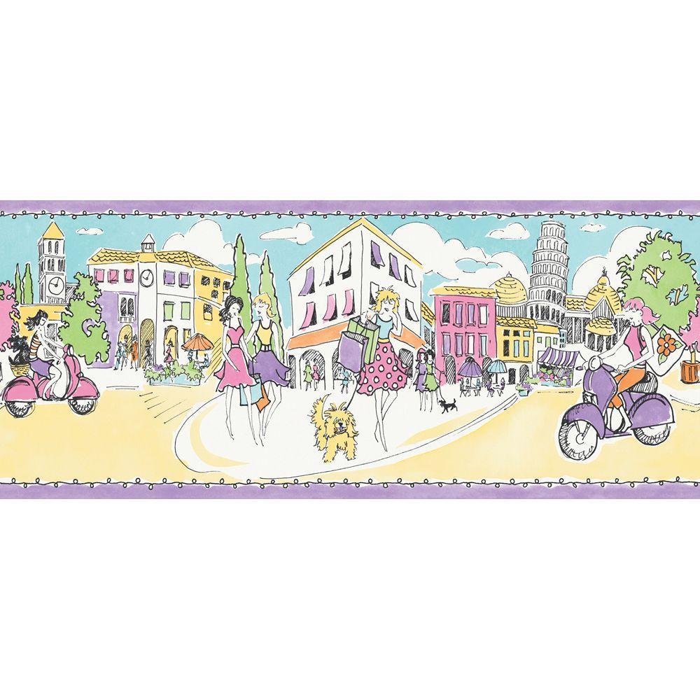 The Wallpaper Company 10.25 in. x 15 ft. Multicolored Ciao Bella Stripe Border
