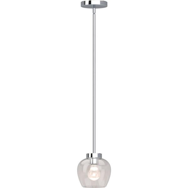Aria 1-Light Polished Nickel Indoor Mini Pendant with Clear Glass Shade