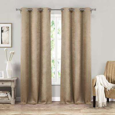 Sera 37 in. W x 84 in. L Polyester Window Panel in Taupe