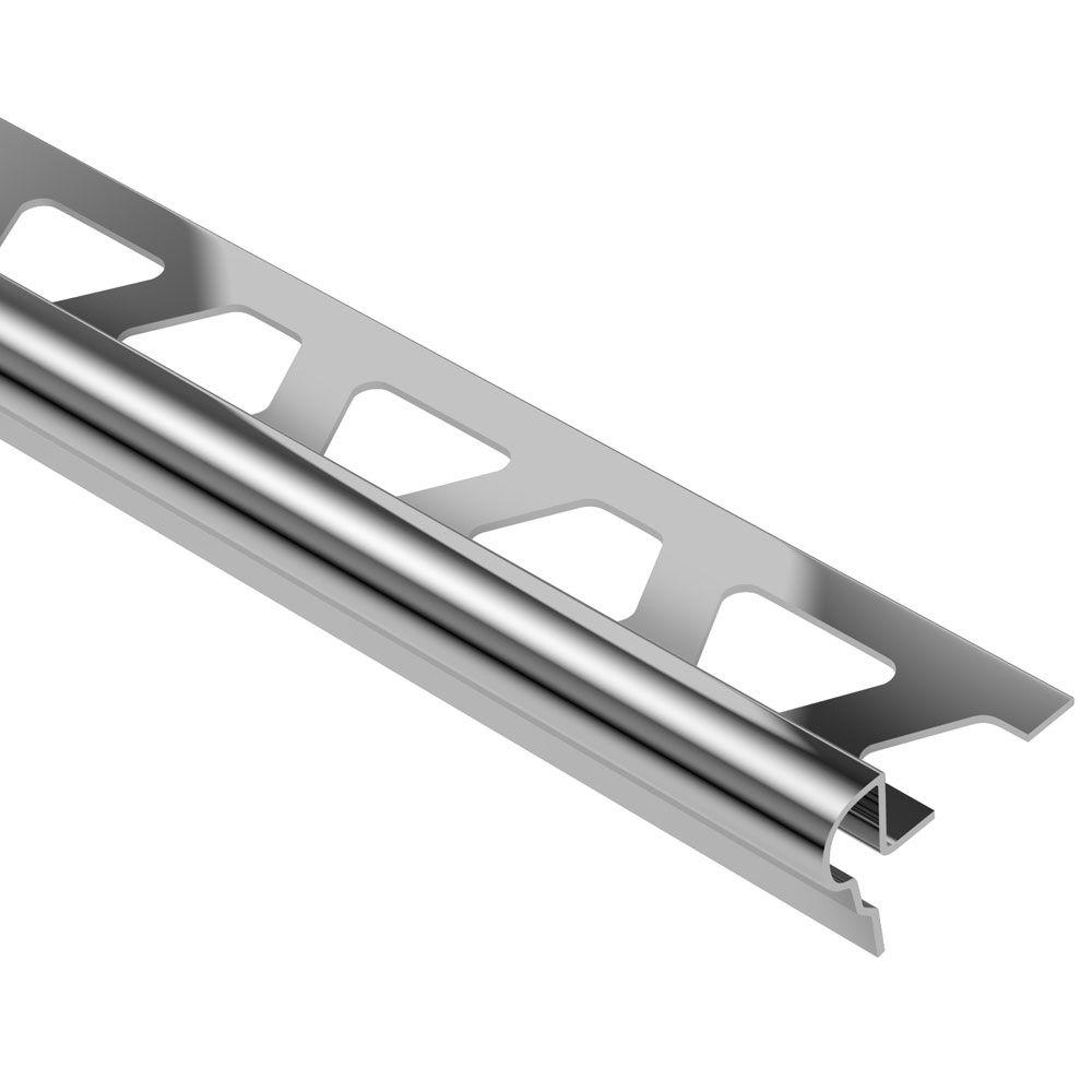 Schluter Trep-FL Stainless Steel 1/2 in. x 8 ft. 2-1/2 in. Metal Stair Nose Tile Edging Trim