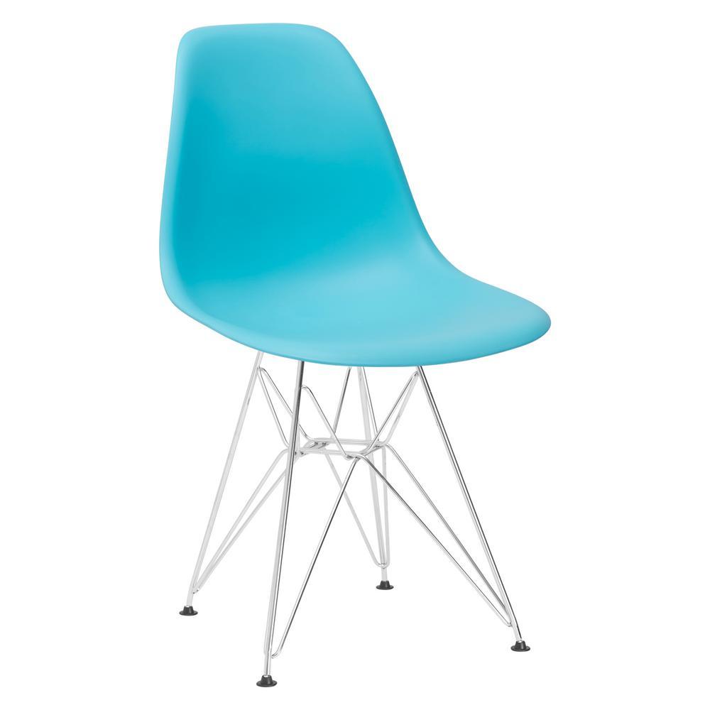 Padget Chrome and Aqua Side Chair