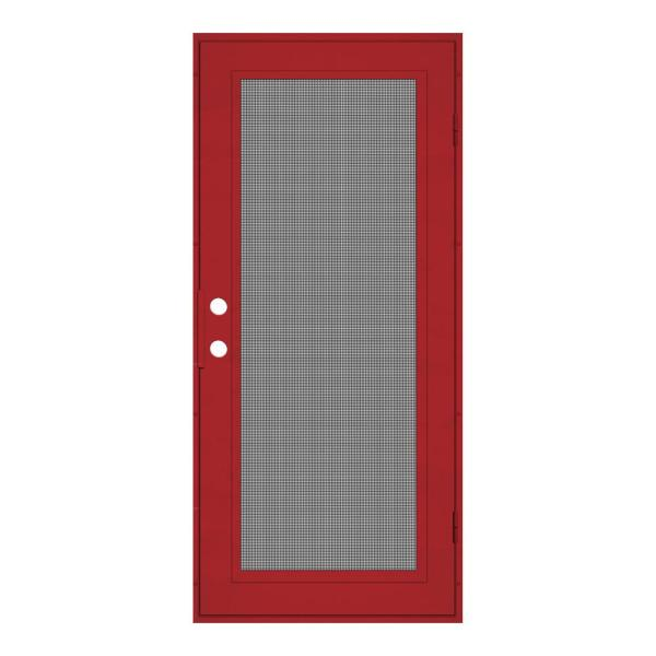 30 in. x 80 in. Full View Red Hammertone Right-Hand Surface Mount Security Door with Meshtec Screen