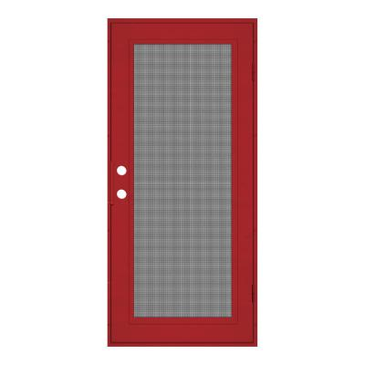 36 in. x 80 in. Full View Red Hammertone Right-Hand Surface Mount Security Door with Meshtec Screen