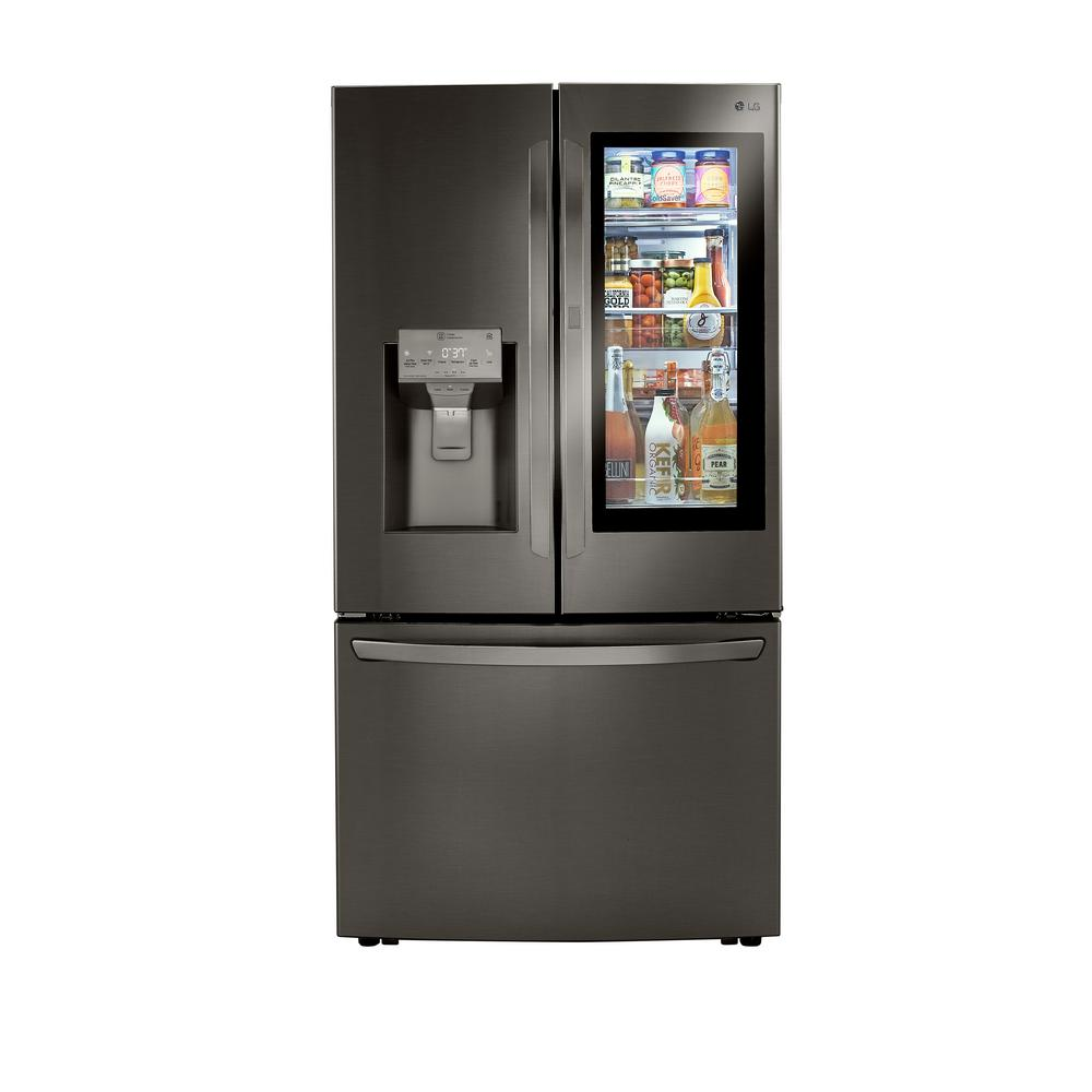 LGElectronics 30 cu. ft. InstaView 3-Door French Door Refrigerator with Craft Ice in PrintProof Black Stainless Steel
