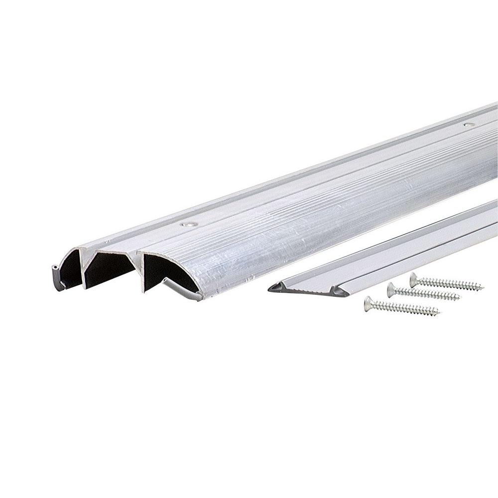 M-D Building Products 36 in. Standard Duty High Aluminum (Silver) Threshold with Vinyl Seal MD Building Products provides a full assortment of aluminum shapes and sheets for any project you may encounter. Economy grade 36 in. extruded aluminum with screw holes under flip in replaceable vinyl insert. Packed with screws.