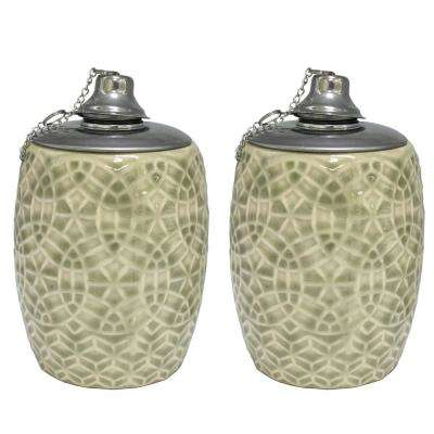 6 in. Greige Rivage Ceramic Tabletop Torch (Set of 2)