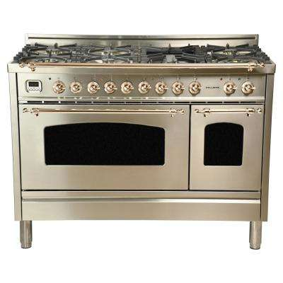 48 in. 5.0 cu. ft. Double Oven Dual Fuel Italian Range True Convection, 7 Burners, Griddle, Bronze Trim/Stainless Steel