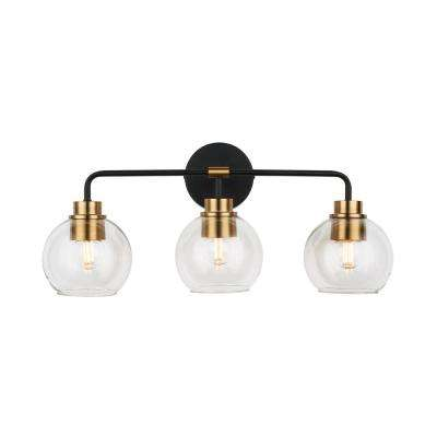 3-Light Aged Bronze and Brass Vanity Light