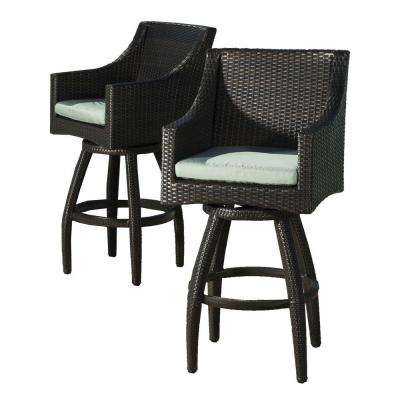 Deco All Weather Wicker Motion Patio Bar Stool With Spa Blue Cushions 2