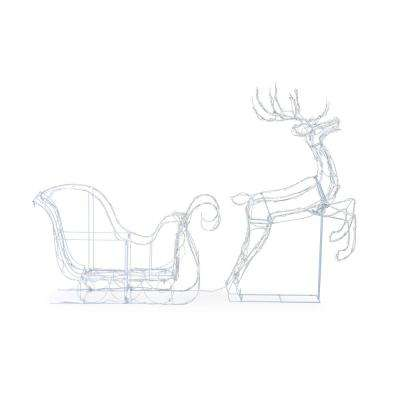 Christmas Cool White LED Wire Frame Deer and Sleigh