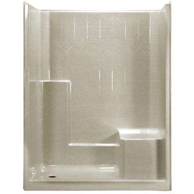 60 in. x 33 in. x 77 in. 1-Piece Low Threshold Shower Stall in Beach with Right Hand Side Molded Seat, Left Drain