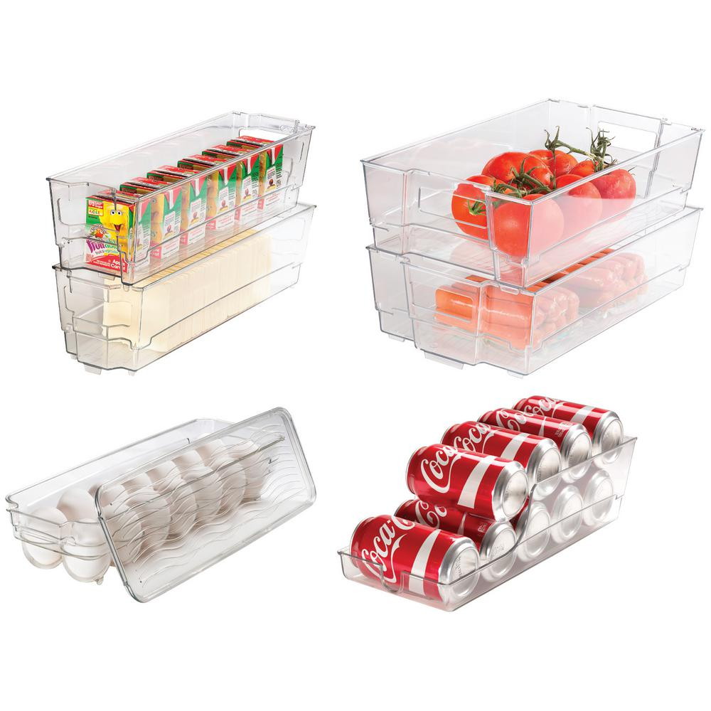 7 Piece Refrigerator and Freezer Stackable Storage Organizer Bins with Built