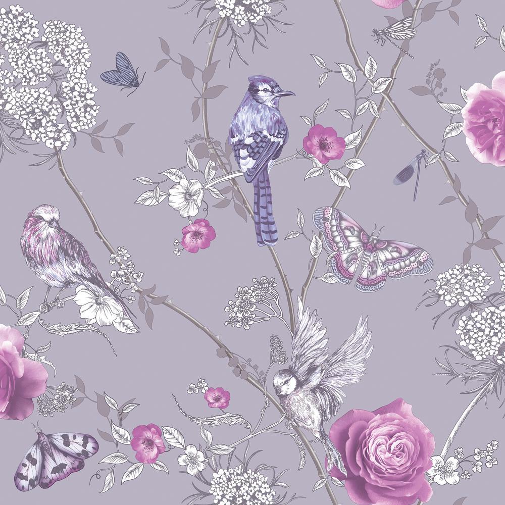 botanical purple paper wallpaper home decor the home depot