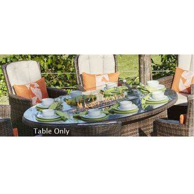 Turnbury 47 in. x 71 in. Propane Oval Wicker Gas Fire Pit Table with Tempered Glass Surround