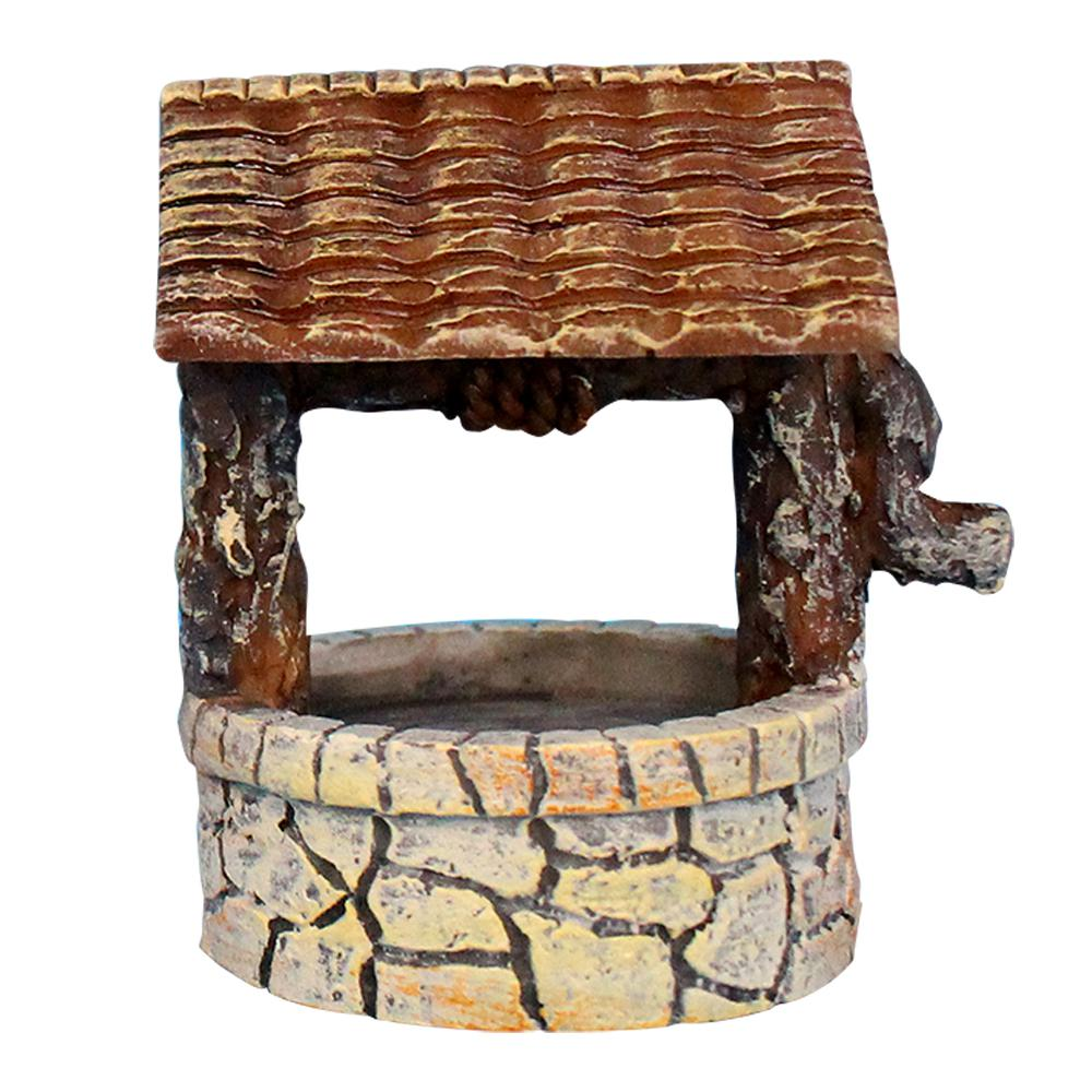 arcadia garden products fairy garden polyresin stone wishing well fg20 the home depot