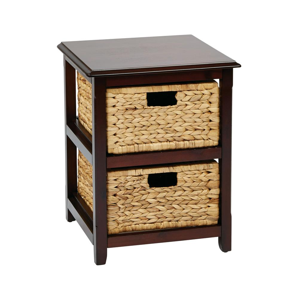 Osp designs seabrook espresso 2 tier storage unit with natural baskets sbk4512a es the home depot