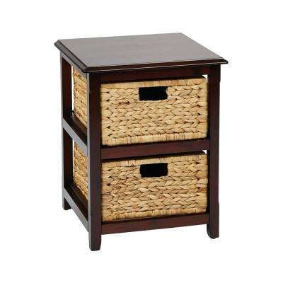 Seabrook Espresso 2-Tier Storage Unit with Natural Baskets