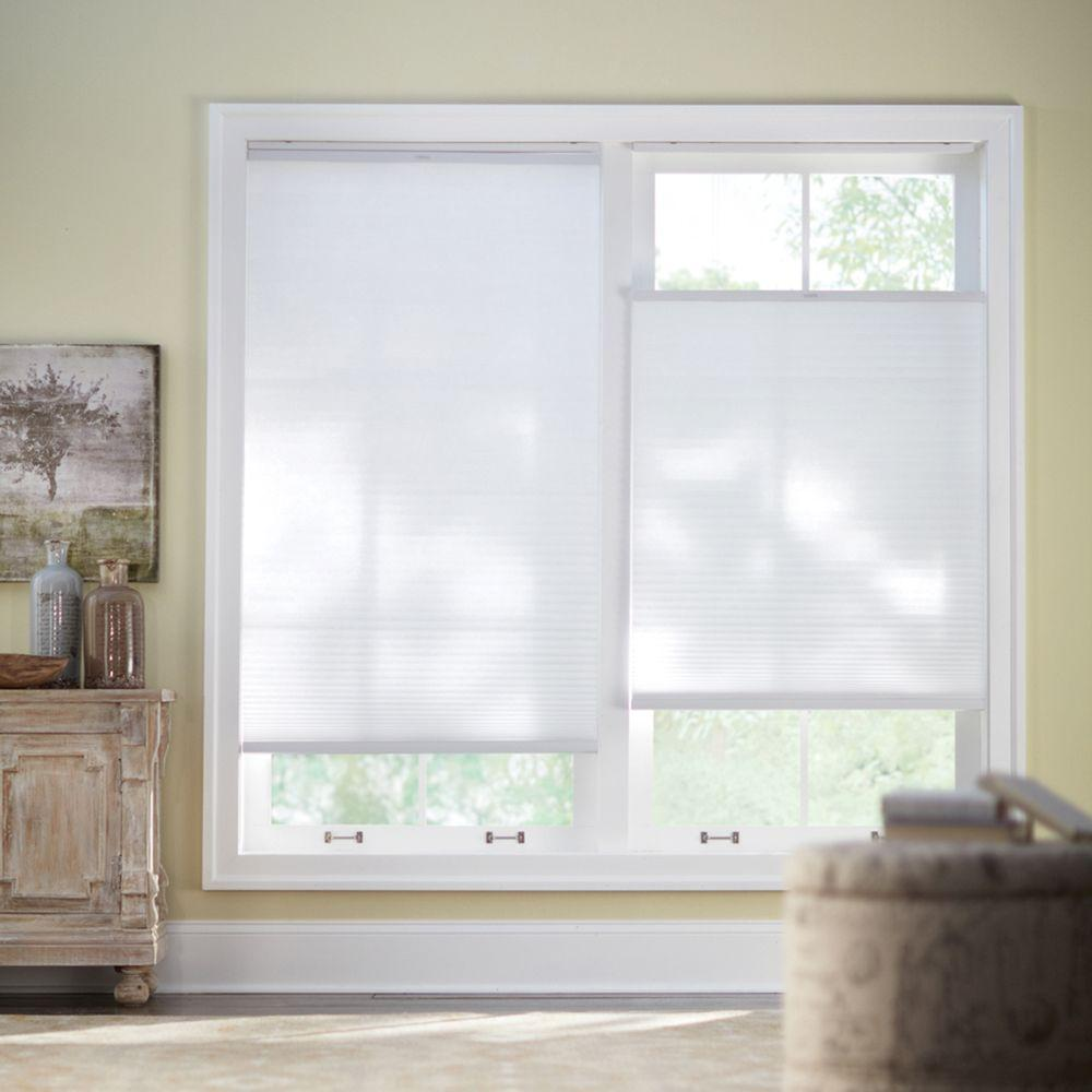 Home Decorators Collection Snow Drift 9/16 in.Top-Down Bottom-Up Cordless Light Filtering Cellular Shade - 61 in.W x 48 in. L (Actual 60.625 in. W)