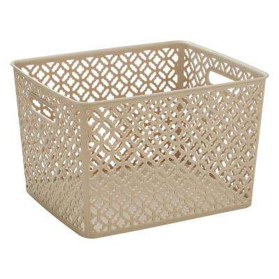 13.75 in. x 11.50 in. x 8.75 in. Trellis Large Storage Bin in Champagne