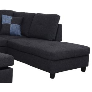 Fabulous Black Linen Left Chaise Sectional With Storage Ottoman F125A Squirreltailoven Fun Painted Chair Ideas Images Squirreltailovenorg