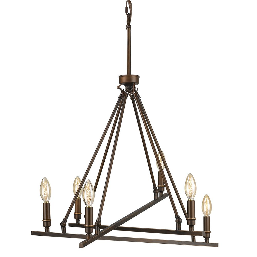 golden lighting chandelier. Golden Lighting Garvin 6-Light Rubbed Bronze Chandelier G