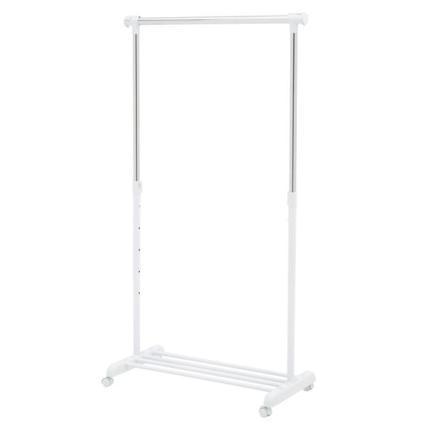 34 to 53-Inches,White//Chrome Honey-Can-Do GAR-03265 Adjustable Expandable Garment Rack with Locking Wheels