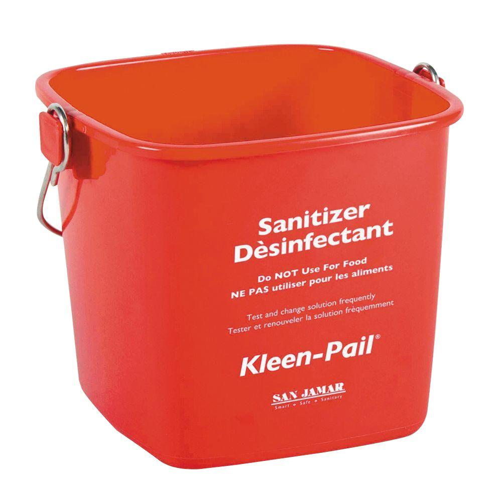 San Jamar 6 Qt. Kleen Plastic Red Pail (Case of 12)