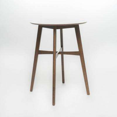 Natural Walnut Round Wooden Bar Table
