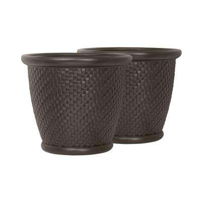 Herringbone 18 in. Round Java Blow Molded Resin Planter (2-Pack)