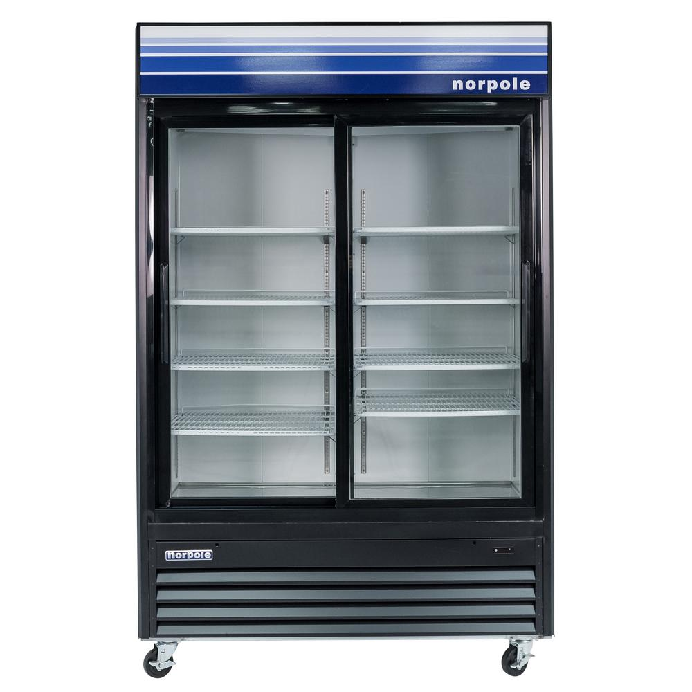 Norpole Commercial 45 cu. ft. 2-Sliding Glass Door Refrigerator in Black