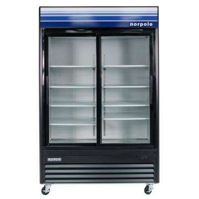 Commercial 45 cu. ft. 2-Sliding Glass Door Refrigerator in Black