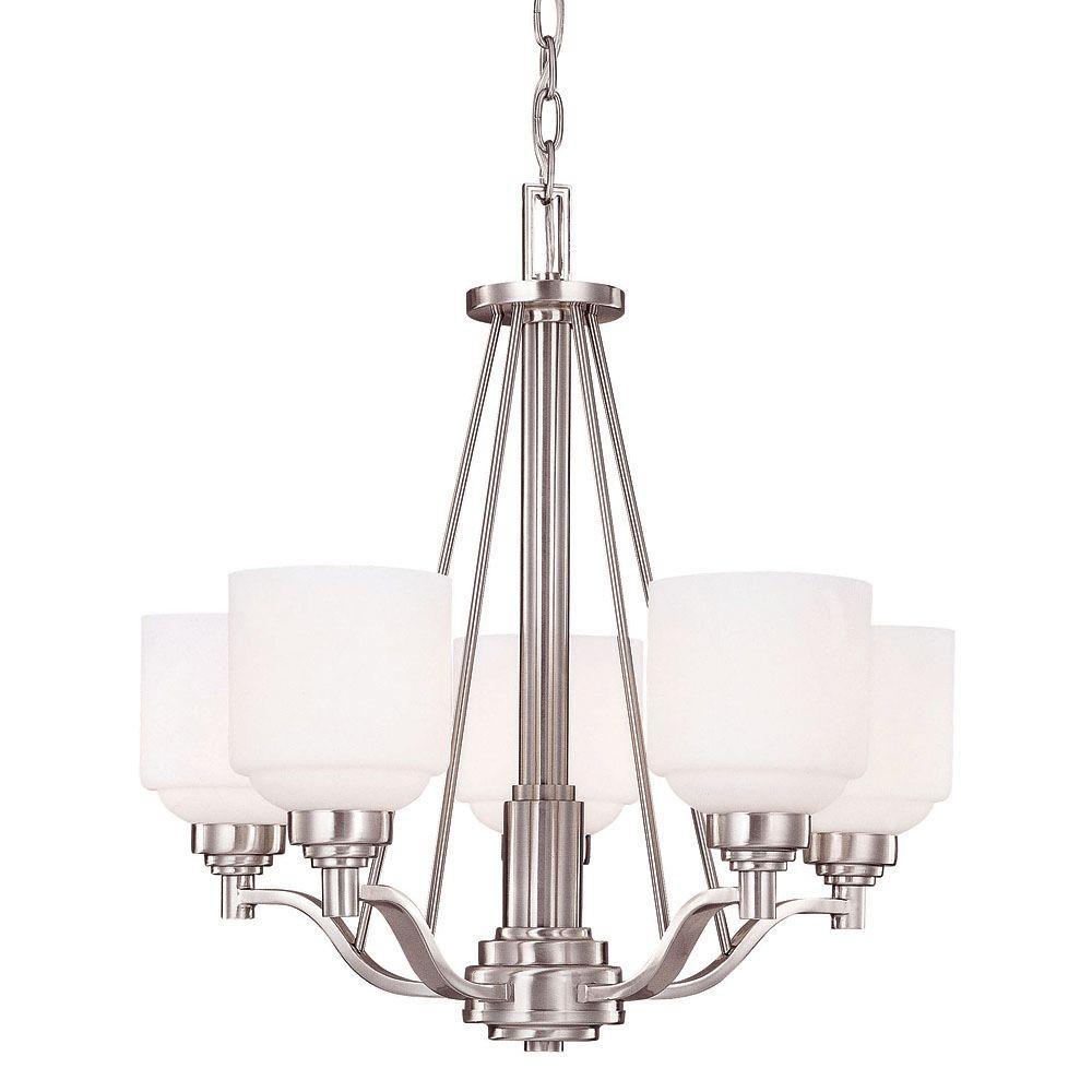 Illumine 5-Light Chandelier Pewter Finish Etched Opal White Glass