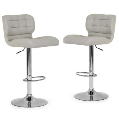 Set of 2 Adler Ashy Color Light Taupe Faux Leather Adjustable Height Bar Stool